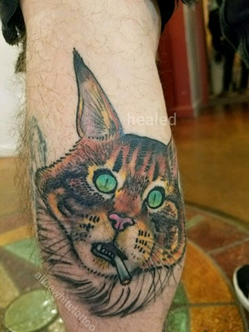 Maine Coon, Cat, fluffy, Alice White, Provincetown tattoo, Cape Cod tattoo, Ptown tattoo, truro, wellfleet, custom tattoo, coastline tattoo
