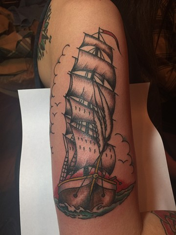 clipper ship tattoo, nautical tattoo, traditional tattoo, Provincetown tattoo, Cape Cod tattoo, Ptown tattoo, truro, wellfleet, custom tattoo, coastline tattoo