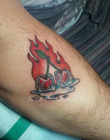 cherry tattoo, ice tattoo, flame tattoo, Provincetown tattoo, Cape Cod tattoo, Ptown tattoo, truro, wellfleet, custom tattoo, coastline tattoo