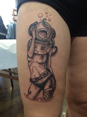 diver babe tattoo, diver tattoo, nautical tattoo, Provincetown tattoo, Cape Cod tattoo, Ptown tattoo, truro, wellfleet, custom tattoo, coastline tattoo