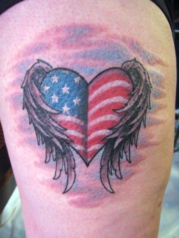 American Winged-heart, patriotic, custom tattoo, Provincetown, Cape Cod, Coastline, Ptown