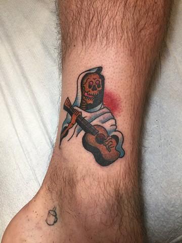 Skeleton, Guitar, Provincetown tattoo, Cape Cod tattoo, Ptown tattoo, truro, wellfleet, custom tattoo, coastline tattoo