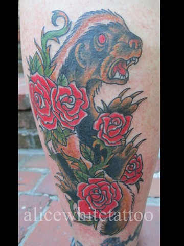 Alice White - Honey Badger tattoo, rose tattoo, Provincetown tattoo, Cape Cod tattoo, Ptown tattoo, truro tattoo, wellfleet tattoo, custom tattoo, coastline tattoo