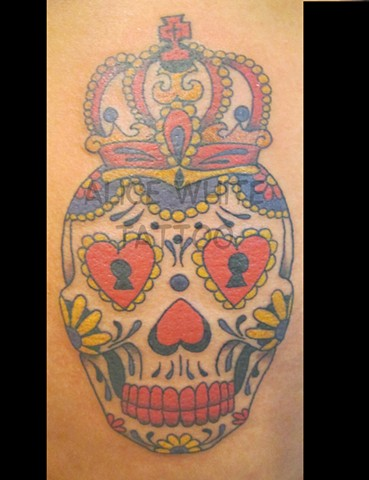 Alice White - Sugar Skull King, Provincetown tattoo, Cape Cod tattoo, Ptown tattoo, truro tattoo, wellfleet tattoo, custom tattoo, coastline tattoo