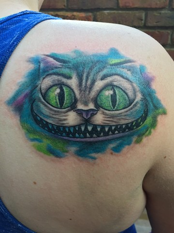 Cheshire Cat Tattoo, cat tattoo, alice in wonderland tattoo, Provincetown tattoo, Cape Cod tattoo, Ptown tattoo, truro, wellfleet, custom tattoo, coastline tattoo