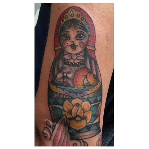 Traditional Russian nesting doll tattoo, Provincetown tattoo, Cape Cod tattoo, Ptown tattoo, truro, wellfleet, custom tattoo, coastline tattoo
