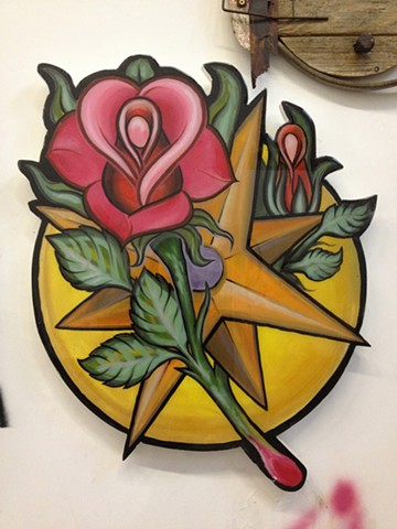 compass, rose, acrylic on wood, cutout, 2' high, art, painting, Provincetown, Cape Cod, Coastline, Ptown