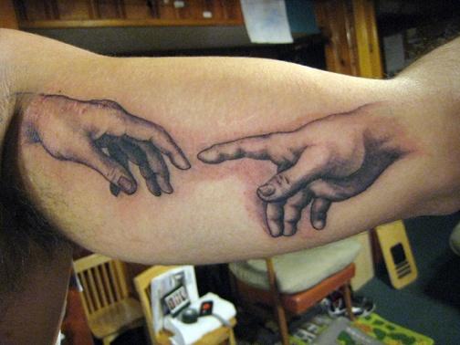 Creation of Adam, custom tattoo, Provincetown, Cape Cod, Coastline, Ptown