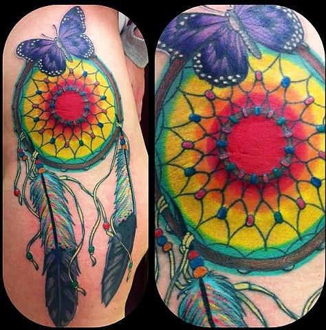 Eric Eaton - butterfly dream catcher tattoo, Provincetown tattoo, Cape Cod tattoo, Ptown tattoo, truro tattoo, wellfleet tattoo, custom tattoo, coastline tattoo