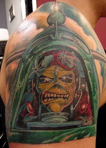 Scott Bruns - Iron Maiden - Aces High Eddie, Provincetown tattoo, Cape Cod tattoo, Ptown tattoo, truro tattoo, wellfleet tattoo, custom tattoo, coastline tattoo