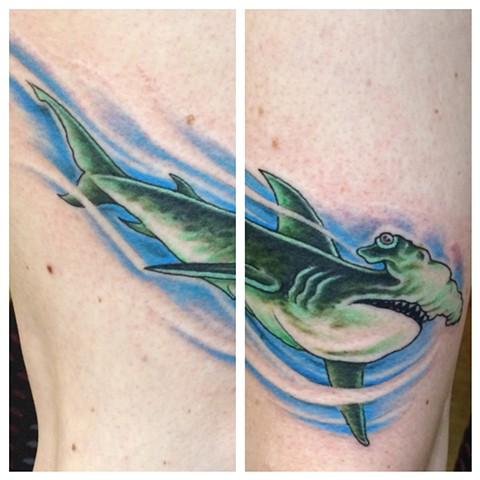 hammerhead shark tattoo, panther tattoo, Provincetown tattoo, Cape Cod tattoo, Ptown tattoo, truro, wellfleet, custom tattoo, coastline tattoo