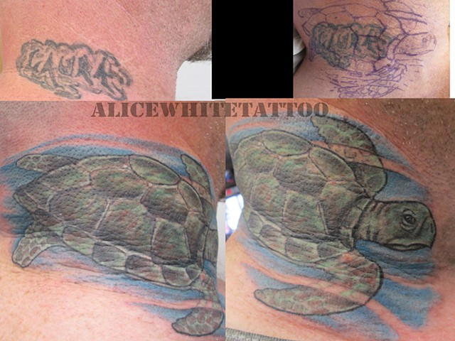 Alice White - Sea turtle cover-up tattoo, Provincetown tattoo, Cape Cod tattoo, Ptown tattoo, truro tattoo, wellfleet tattoo, custom tattoo, coastline tattoo