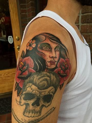 girl head tattoo, rose tattoo, Provincetown tattoo, Cape Cod tattoo, Ptown tattoo, truro, wellfleet, custom tattoo, coastline tattoo