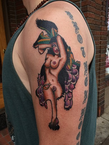 wolf tattoo, pin-up girl tattoo, grape tattoo, Provincetown tattoo, Cape Cod tattoo, Ptown tattoo, truro, wellfleet, custom tattoo, coastline tattoo