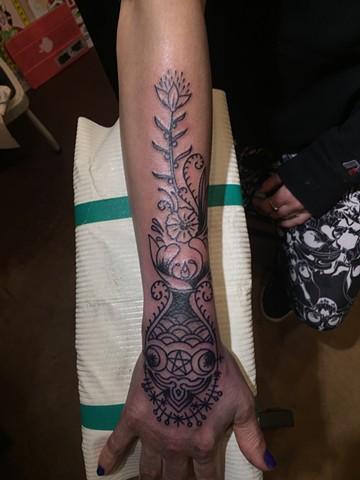 triple goddess tattoo, botanical tattoo, flower tattoo, floral tattoo, Provincetown tattoo, Cape Cod tattoo, Ptown tattoo, truro, wellfleet, custom tattoo, coastline tattoo