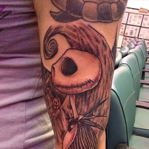 Daniel Emery Jr. - Nightmare Befire Christmas, Jack Skellington tattoo, Provincetown tattoo, Cape Cod tattoo, Ptown tattoo, truro tattoo, wellfleet tattoo, custom tattoo, coastline tattoo