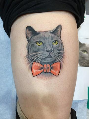cat tattoo, cat portrait, Provincetown tattoo, Cape Cod tattoo, Ptown tattoo, truro, wellfleet, custom tattoo, coastline tattoo