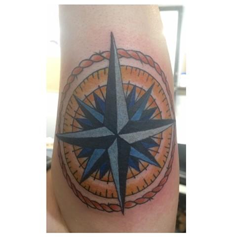 compass tattoo, nautical tattoo,  Provincetown tattoo, Cape Cod tattoo, Ptown tattoo, truro, wellfleet, custom tattoo, coastline tattoo