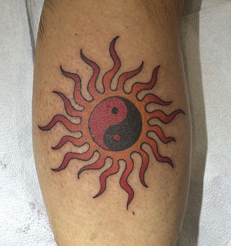 Sun tattoo, yin-yang tattoo, Provincetown tattoo, Cape Cod tattoo, Ptown tattoo, truro, wellfleet, custom tattoo, coastline tattoo
