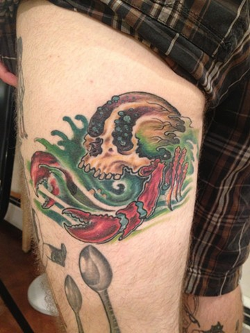 sea creature, skull, Provincetown tattoo, Cape Cod tattoo, Ptown tattoo, truro tattoo, wellfleet tattoo, custom tattoo, coastline tattoo
