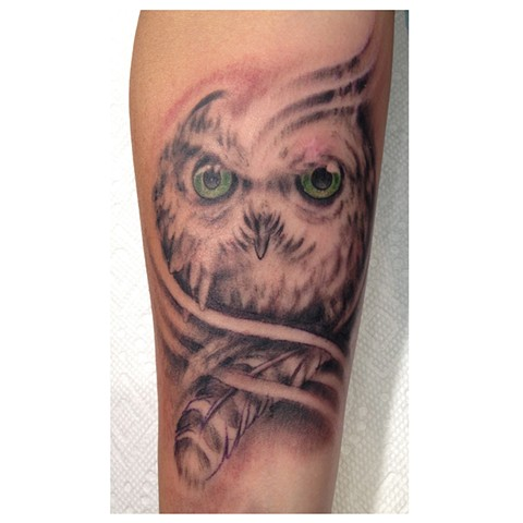 Owl tattoo, bird of prey tattoo, Provincetown tattoo, Cape Cod tattoo, Ptown tattoo, truro tattoo, wellfleet tattoo, custom tattoo, coastline tattoo