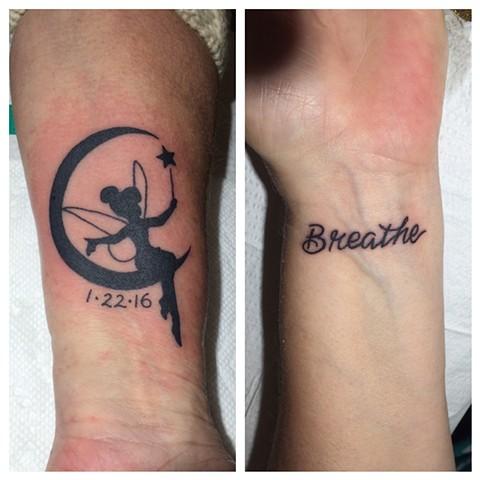 tinkerbell tattoo, lettering, Provincetown tattoo, Cape Cod tattoo, Ptown tattoo, truro, wellfleet, custom tattoo, coastline tattoo