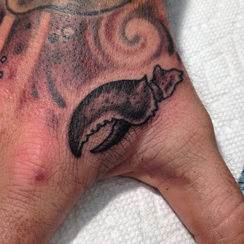 Lobster Claw Tattoo, black and grey tattoo, Provincetown tattoo, Cape Cod tattoo, Ptown tattoo, truro tattoo, wellfleet tattoo, custom tattoo, coastline tattoo