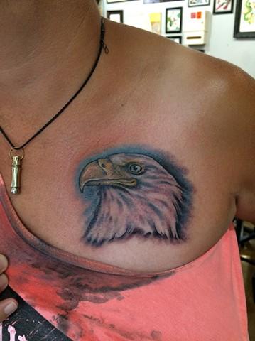 bald eagle tattoo, bald eagle portrait, Provincetown tattoo, Cape Cod tattoo, Ptown tattoo, truro, wellfleet, custom tattoo, coastline tattoo