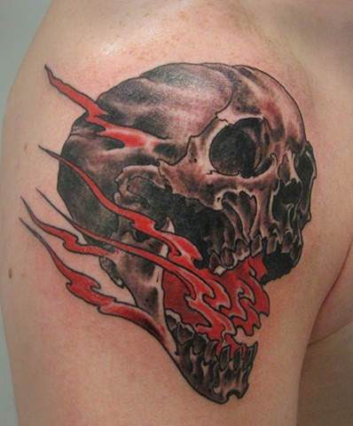 Charles Rouse - flaming skull tattoo, Provincetown tattoo, Cape Cod tattoo, Ptown tattoo, truro tattoo, wellfleet tattoo, custom tattoo, coastline tattoo