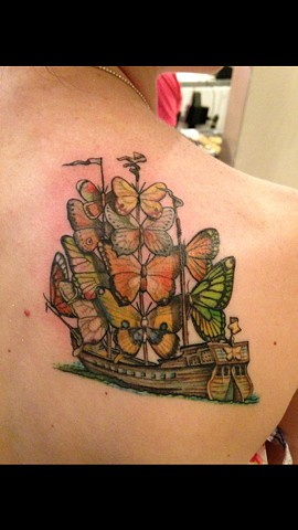 Cindy Vega - butterfly clipper ship tattoo, Provincetown tattoo, Cape Cod tattoo, Ptown tattoo, truro tattoo, wellfleet tattoo, custom tattoo, coastline tattoo