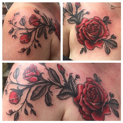 rose tattoo, flower tattoo, Provincetown tattoo, Cape Cod tattoo, Ptown tattoo, truro, wellfleet, custom tattoo, coastline tattoo