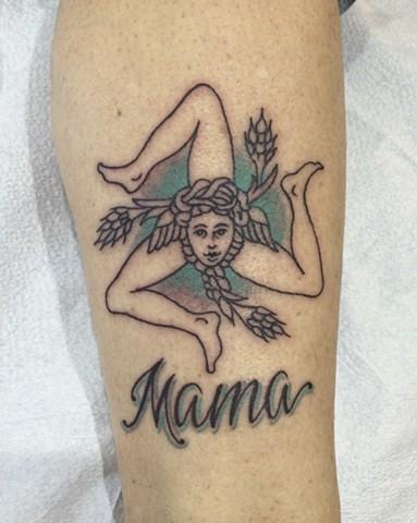 Sicilian tattoo, trinacria tattoo, Provincetown tattoo, Cape Cod tattoo, Ptown tattoo, truro, wellfleet, custom tattoo, coastline tattoo