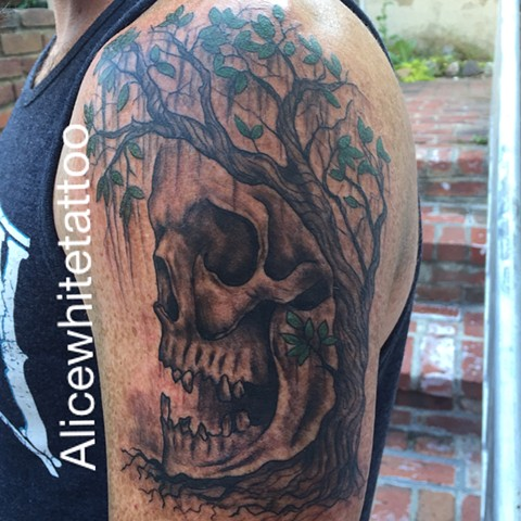 Tree of Life Tattoo, tree tattoo, plant tattoo, skull tattoo, Provincetown tattoo, Cape Cod tattoo, Ptown tattoo, truro, wellfleet, custom tattoo, coastline tattoo