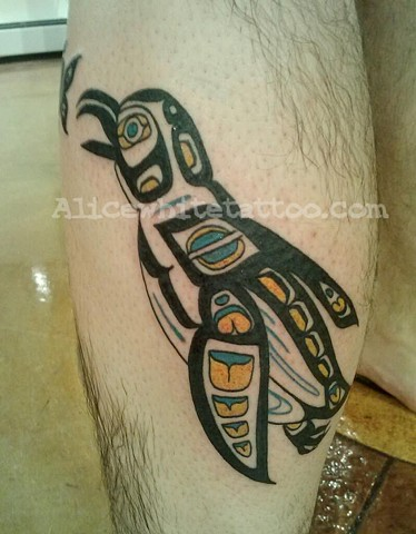 Alice White - Northwest American Indian Haida tribal penguin,  Provincetown tattoo, Cape Cod tattoo, P-Town tattoo, custom tattoo, coastline tattoo