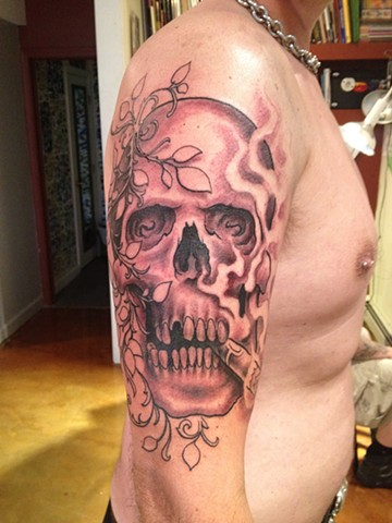 skull, cigar, ivy, black and grey, Provincetown tattoo, Cape Cod tattoo, Ptown tattoo, truro tattoo, wellfleet tattoo, custom tattoo, coastline tattoo