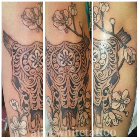 skull tattoo, bull tattoo, flower tattoo, engraved skull tattoo, Provincetown tattoo, Cape Cod tattoo, Ptown tattoo, truro, wellfleet, custom tattoo, coastline tattoo