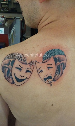 comedy mask tattoo, tragedy mask tattoo, skull tattoo, brain tattoo, Provincetown tattoo, Cape Cod tattoo, Ptown tattoo, truro, wellfleet, custom tattoo, coastline tattoo