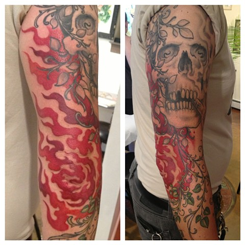 skull flames freehand, Provincetown tattoo, Cape Cod tattoo, Ptown tattoo, truro tattoo, wellfleet tattoo, custom tattoo, coastline tattoo