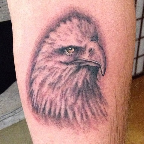 Eagle Tattoo, bald eagle tattoo, black and grey tattoo, bird tattoo, Provincetown tattoo, Cape Cod tattoo, Ptown tattoo, truro, wellfleet, custom tattoo, coastline tattoo