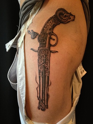 Tina Marie DeCarlo - vintage gun,  Provincetown tattoo, Cape Cod tattoo, Ptown tattoo, truro tattoo, wellfleet tattoo, custom tattoo, coastline tattoo