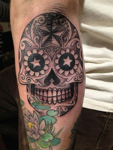 day of the dead skull, black and grey,  custom tattoo, Provincetown, Cape Cod, Coastline, Ptown