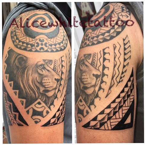 Black and Gray Polynesian Lion, tribal tattoo, lion tattoo, Provincetown tattoo, Cape Cod tattoo, Ptown tattoo, truro, wellfleet, custom tattoo, coastline tattoo