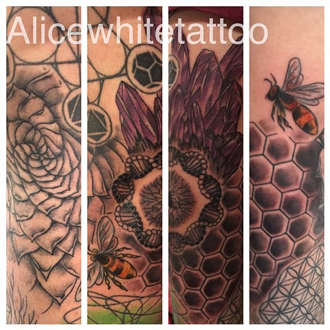 Sacred Geometry Sleeve, oneybee tattoo, agave tattoo, honeycomb tattoo, crystal tattoo, dna tattoo, Provincetown tattoo, Cape Cod tattoo, Ptown tattoo, truro tattoo, wellfleet tattoo, custom tattoo, coastline tattoo