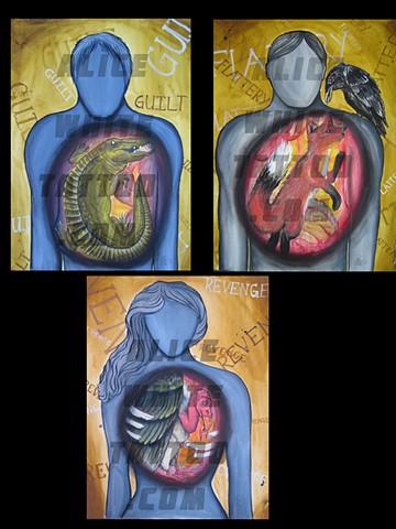 Alice White - Animal Guts, painting, watercolor, Provincetown tattoo, Cape Cod tattoo, Ptown tattoo, truro tattoo, wellfleet tattoo, custom tattoo, coastline tattoo
