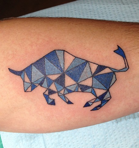 Geometry, geometric tattoo, bull tattoo, Provincetown tattoo, Cape Cod tattoo, Ptown tattoo, truro, wellfleet, custom tattoo, coastline tattoo