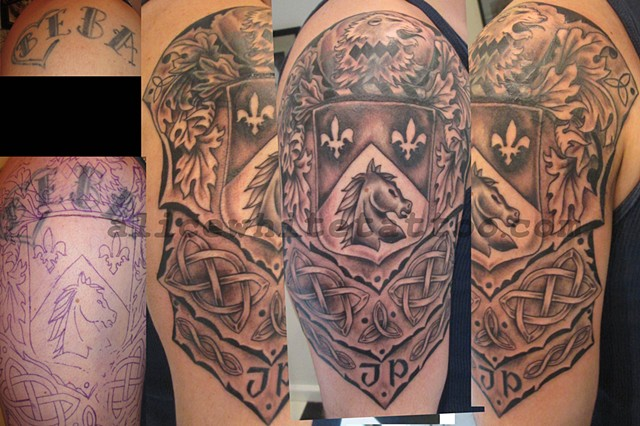 Alice White - Black and grey armor crest, Provincetown tattoo, Cape Cod tattoo, Ptown tattoo, truro tattoo, wellfleet tattoo, custom tattoo, coastline tattoo