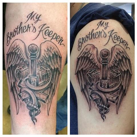 caduceus tattoo, black and gray tattoo, Provincetown tattoo, Cape Cod tattoo, Ptown tattoo, truro, wellfleet, custom tattoo, coastline tattoo