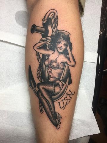 USN tattoo, pin-up chic tattoo, Provincetown tattoo, Cape Cod tattoo, Ptown tattoo, truro, wellfleet, custom tattoo, coastline tattoo