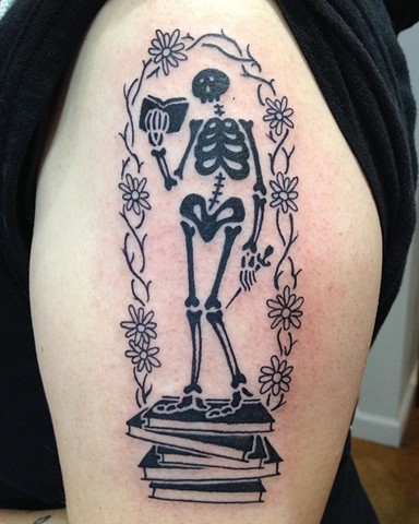 black tattoo, skeleton tattoo, ed gorey tattoo,  Provincetown tattoo, Cape Cod tattoo, Ptown tattoo, truro, wellfleet, custom tattoo, coastline tattoo