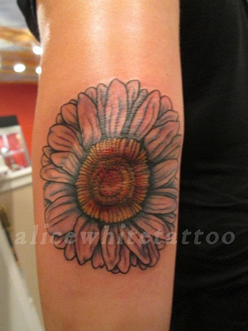 Alice White - Flower, Provincetown tattoo, Cape Cod tattoo, P-Town tattoo, custom tattoo, coastline tattoo